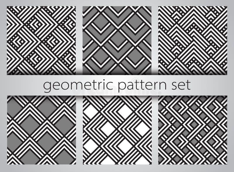 Insieme geometrico senza giunte del reticolo Stampe semplici geometriche Vettore che ripete le strutture con i triangoli royalty illustrazione gratis