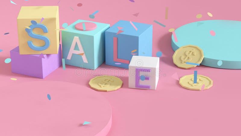 Insieme geometrico variopinto di forma dell'estratto e fondo di rosa del cubo del testo di vendita, concetto di compera 3d di aff illustrazione vettoriale