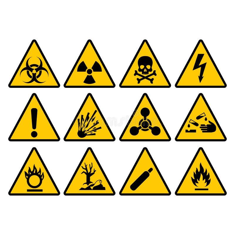 Insieme giallo d'avvertimento del segno del triangolo Segni di vettore di rischio e di avvertimento royalty illustrazione gratis