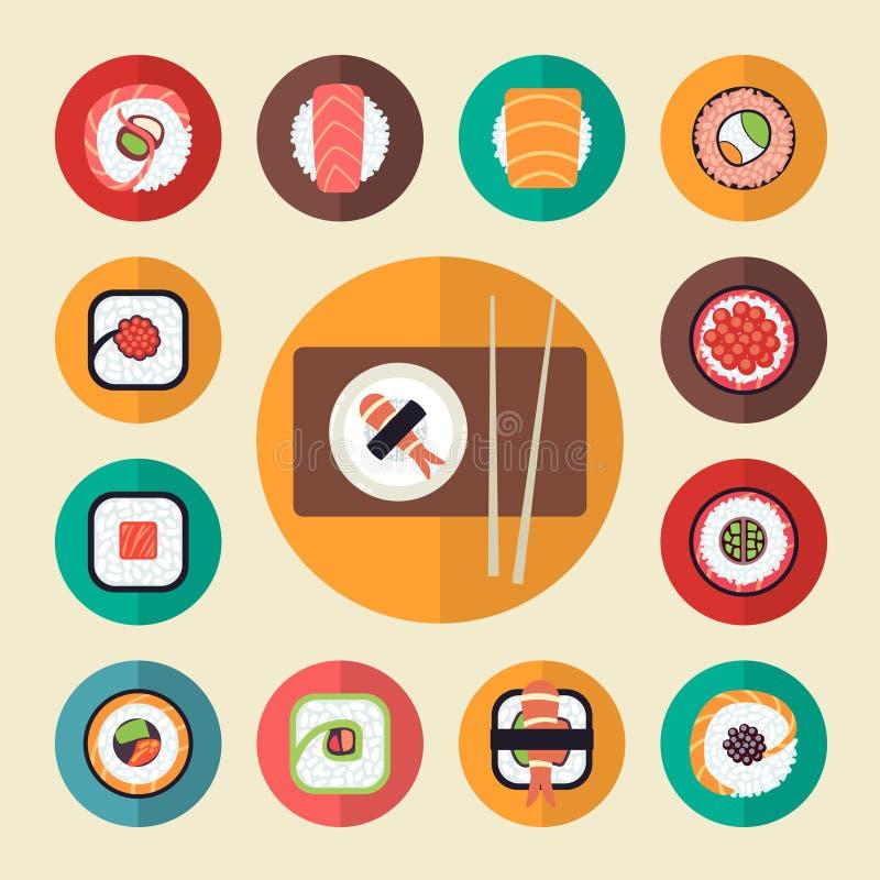 Insieme giapponese dell'illustrazione di vettore delle icone dei sushi dell'alimento illustrazione vettoriale