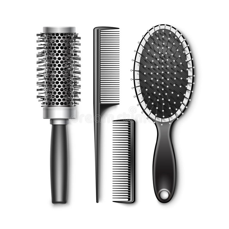 Insieme governare e della spazzola per capelli radiale d'arricciatura calda illustrazione di stock