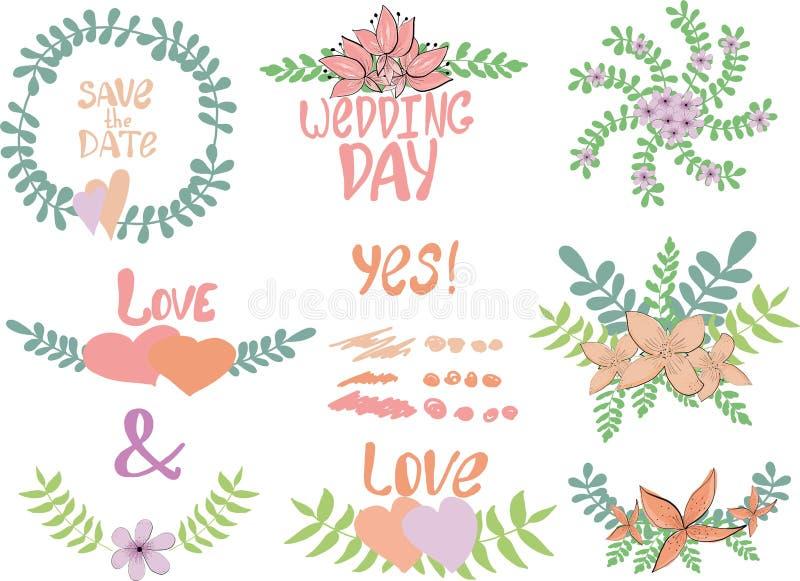 Insieme grafico di nozze dei telai floreali con le iscrizioni e degli elementi per progettazione Illustrazione di vettore per i m illustrazione vettoriale