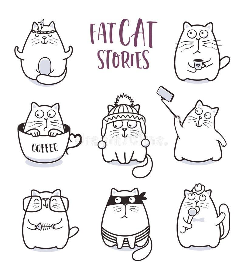 Insieme grasso di vettore dei gatti per progettazione della cartolina d'auguri illustrazione di stock