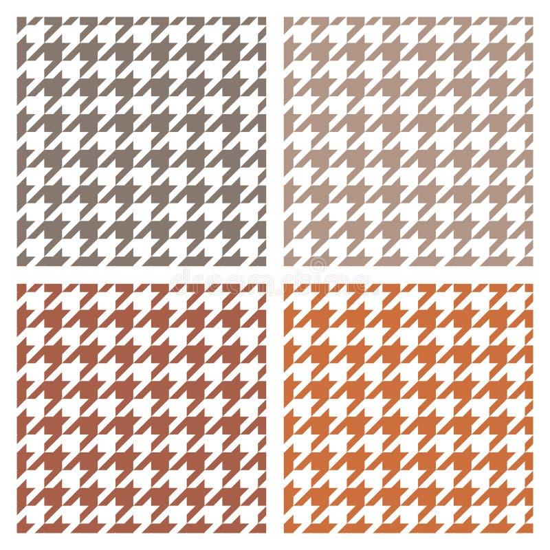 Insieme grigio, marrone e bianco di vettore delle mattonelle di pied de poule del modello illustrazione di stock