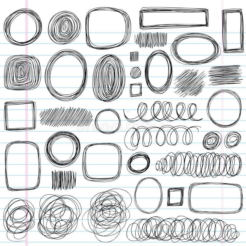 Insieme impreciso di disegno di vettore di figure dello scarabocchio di Doodle illustrazione di stock