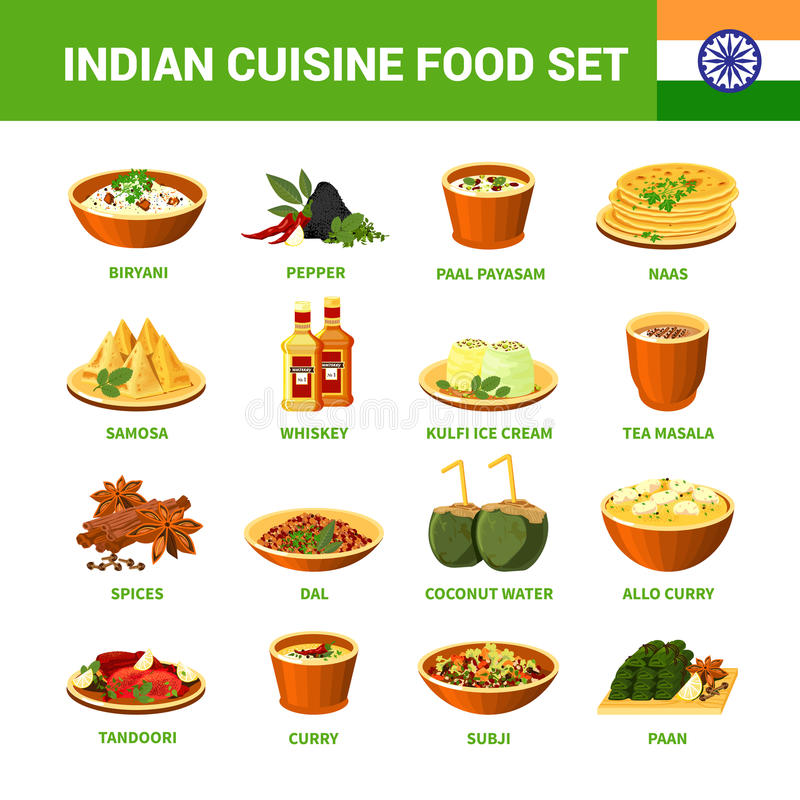 Insieme indiano dell'alimento di cucina royalty illustrazione gratis