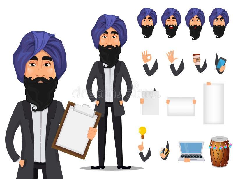 Insieme indiano della creazione del personaggio dei cartoni animati dell'uomo di affari illustrazione di stock