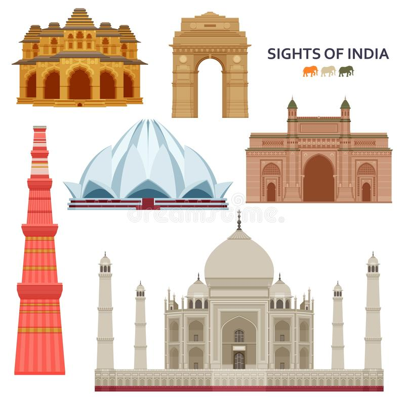 Insieme indiano di viste più famoso Costruzioni architettoniche Attrazioni turistiche famose illustrazione di stock