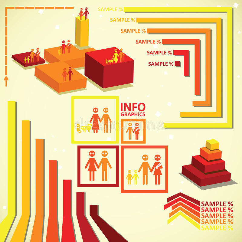 Insieme infographic arancio. illustrazione vettoriale