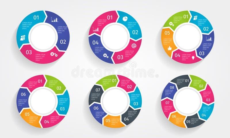 Insieme infographic variopinto moderno delle frecce del cerchio Illustrazione del modello di vettore illustrazione vettoriale