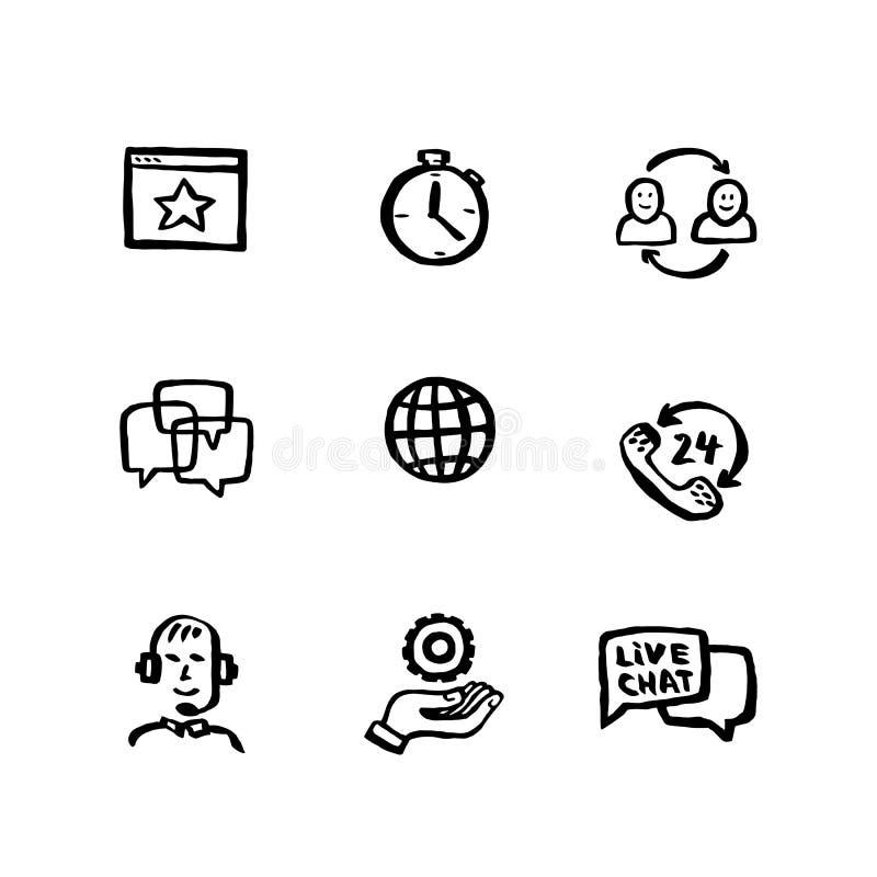 Insieme ingenuo dell'icona di stile Appoggio online Chiacchierata di servizio di assistenza al cliente Insieme di stile dell'inch illustrazione vettoriale