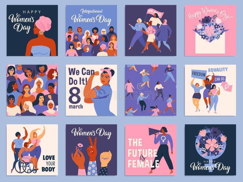 Insieme internazionale di giorno delle donne s Vector i modelli per la carta, il manifesto, l'aletta di filatoio ed altri utenti royalty illustrazione gratis