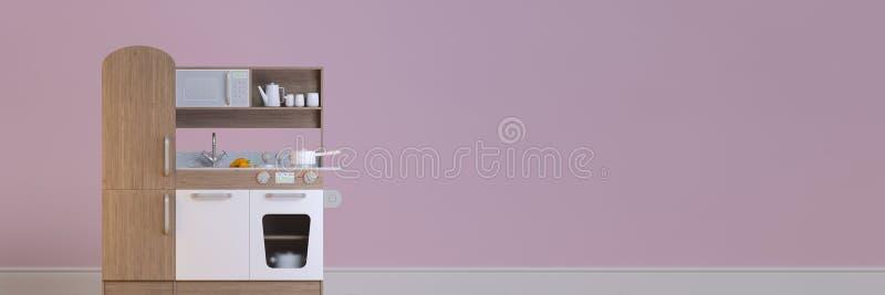Insieme interno del gioco di progettazione della cucina dei bambini di panorama illustrazione di stock