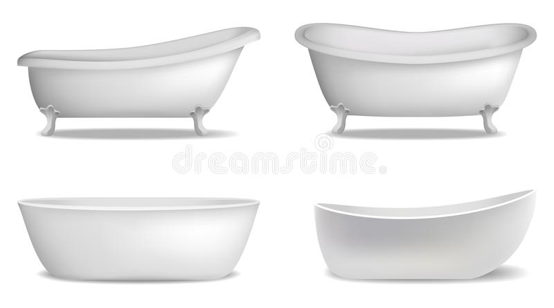 Insieme interno del modello della vasca, stile realistico illustrazione di stock