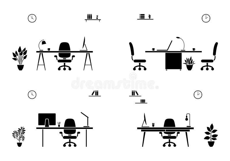 Insieme interno dell'icona dell'ufficio Siluetta in bianco e nero dell'auditorium royalty illustrazione gratis