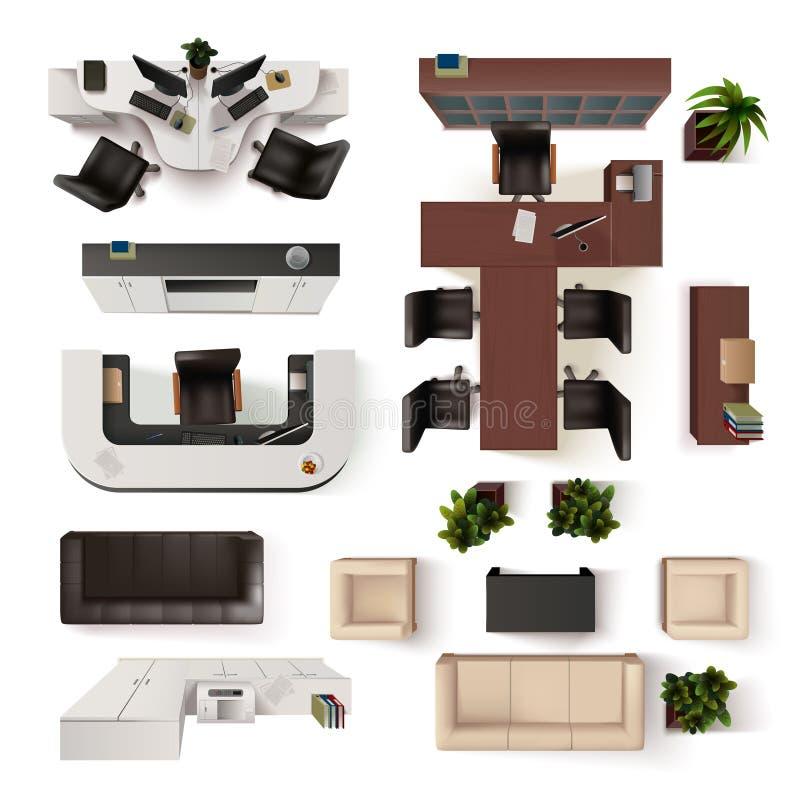 Insieme interno di vista superiore degli elementi dell'ufficio illustrazione di stock