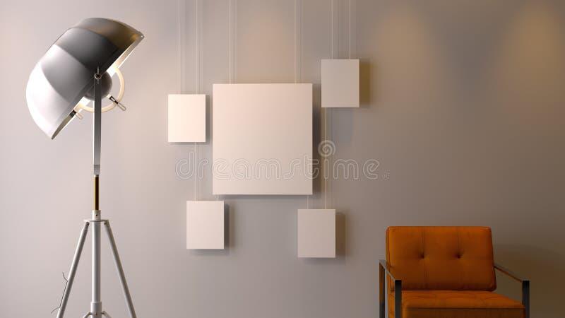 Insieme interno moderno del modello della cornice del withblank isolato sopra fotografia stock libera da diritti