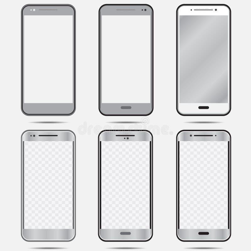 Insieme isolato bianco del nero di Smartphone in color-01 grigio royalty illustrazione gratis