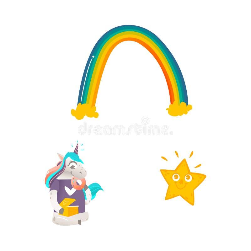 Insieme isolato carattere dell'unicorno del fumetto di vettore illustrazione vettoriale