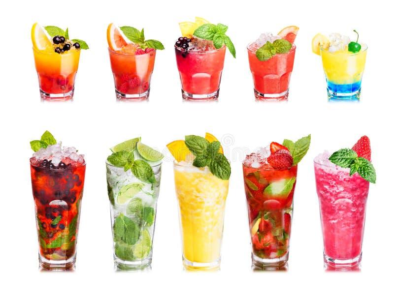 Insieme isolato dei cocktail di frutta fotografia stock