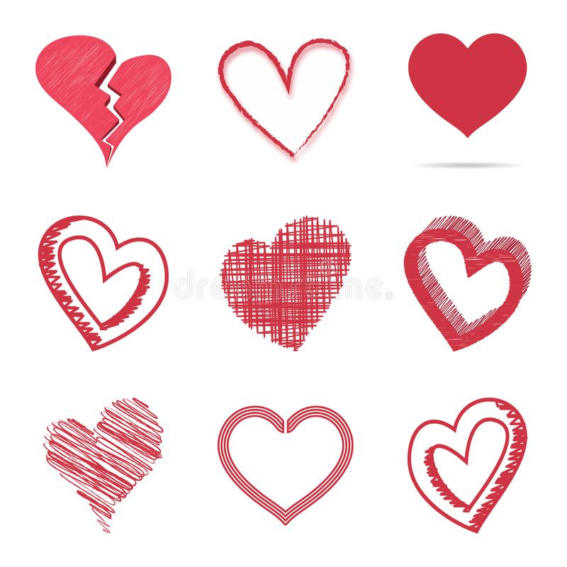 Insieme isolato dei simboli puerili e disegnati a mano di coloritura del cuore isolato su un fondo bianco Stile di schizzo di vet illustrazione di stock