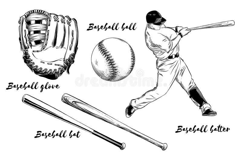 Insieme isolato di baseball su fondo bianco Elementi disegnati a mano quali il giocatore di baseball, il guanto, il pipistrello e illustrazione di stock