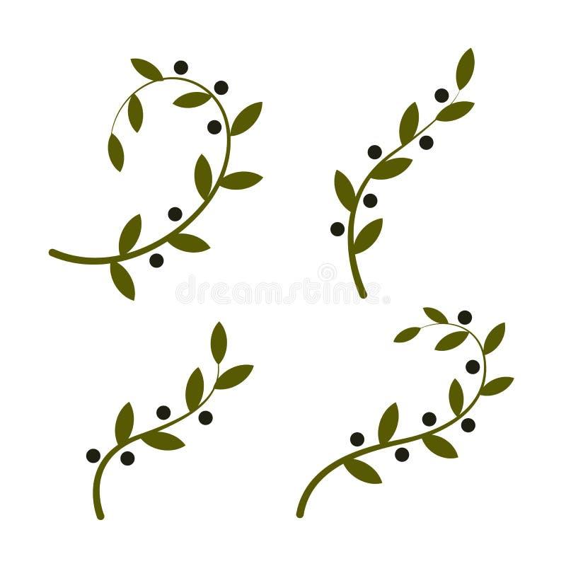 Insieme isolato di logo di vettore del ramo di ulivo Raccolta dei logotypes dell'olio Giorno di pace illustrazione di stock