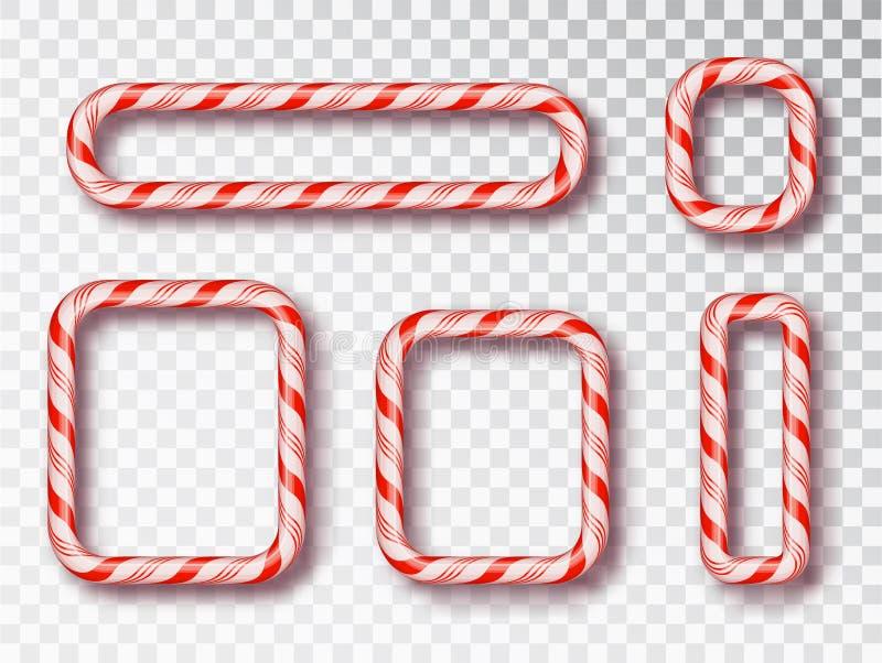 Insieme isolato pagina di Candy di Natale Il Natale in bianco progetta, struttura torta rossa e bianca realistica del cavo Nuovo  illustrazione vettoriale