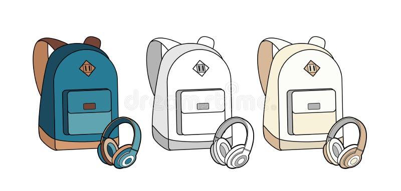 Insieme isolato vettore dello zaino, della borsa, dello Zaino e delle cuffie Illustrazione dello zaino dei pantaloni a vita bassa illustrazione vettoriale