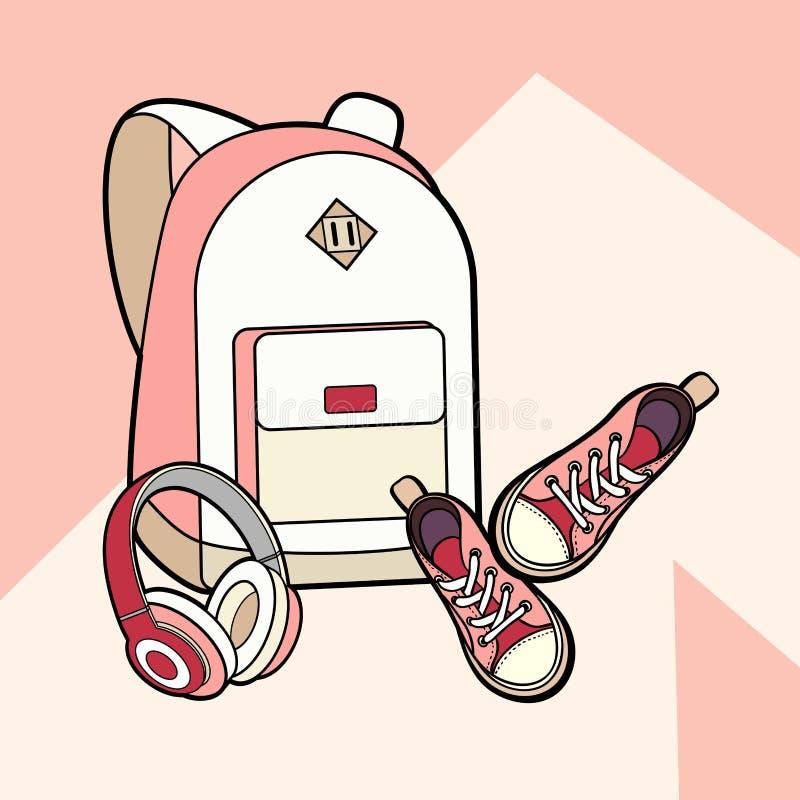 Insieme isolato vettore dello zaino, delle scarpe da tennis e delle cuffie Zaino dei pantaloni a vita bassa di modo della giovent royalty illustrazione gratis