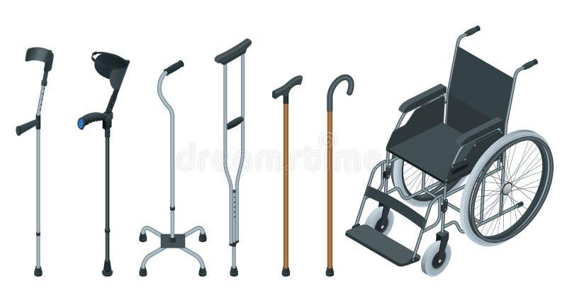 Insieme isometrico degli aiuti di mobilità compreso una sedia a rotelle, un camminatore, le grucce, una canna del quadrato e le g illustrazione vettoriale