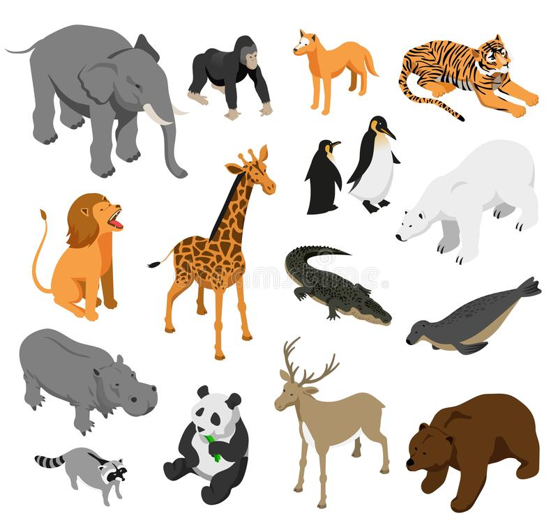 Insieme isometrico degli animali dello zoo royalty illustrazione gratis
