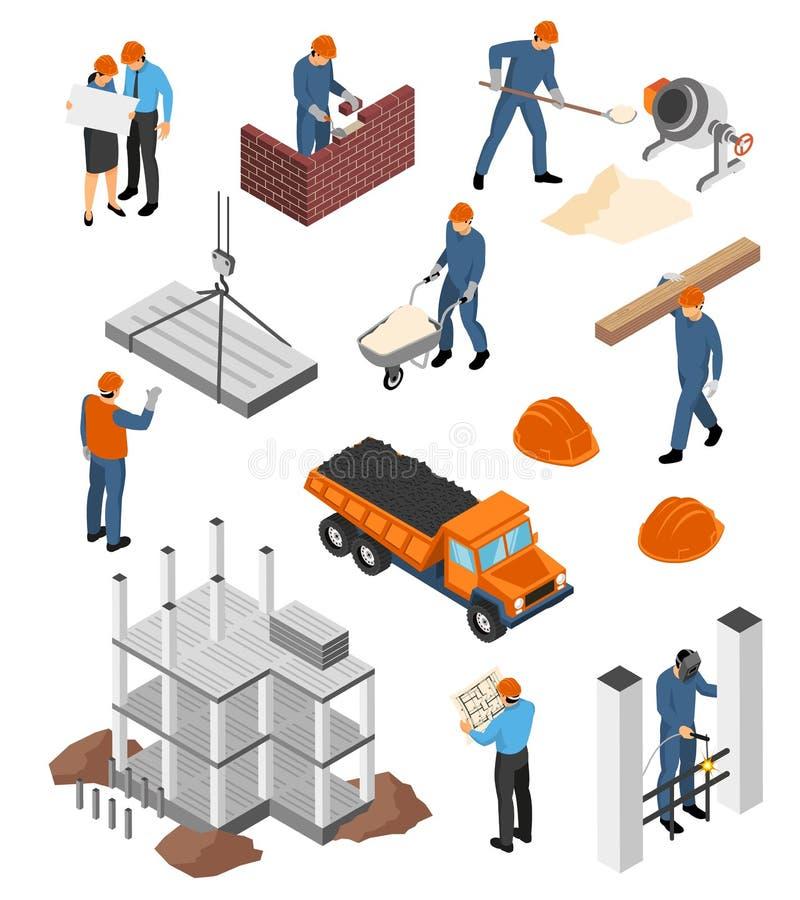 Insieme isometrico degli architetti dei costruttori illustrazione di stock