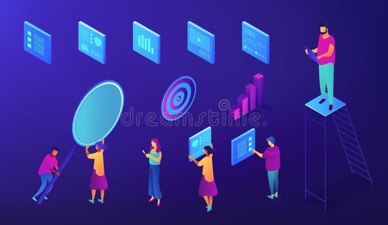 Insieme isometrico degli esperti nel gruppo di IT SEO illustrazione vettoriale