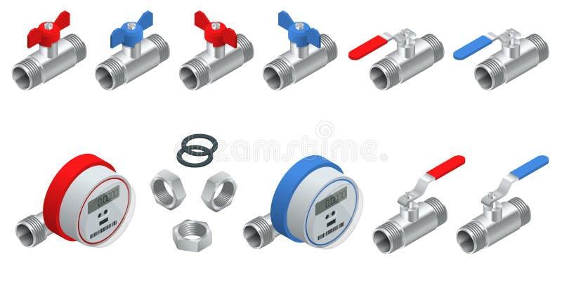 Insieme isometrico dei contatori per acqua per acqua fredda e calda con la conduttura Contatori dell'illustrazione di vettore iso illustrazione vettoriale