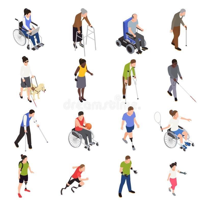 Insieme isometrico dei disabili illustrazione di stock
