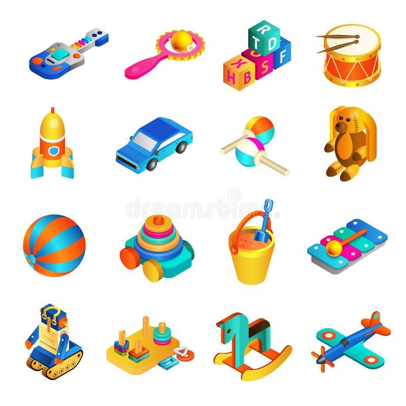 Insieme isometrico dei giocattoli illustrazione di stock