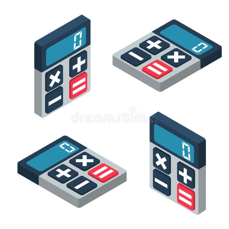Insieme isometrico del calcolatore Progettazione dell'illustrazione 3d di vettore illustrazione vettoriale