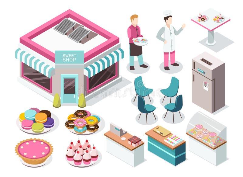 Insieme isometrico del negozio dolce illustrazione vettoriale