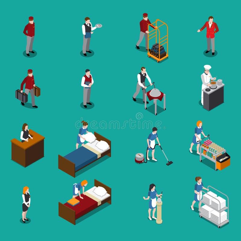 Insieme isometrico del personale dell'hotel illustrazione di stock