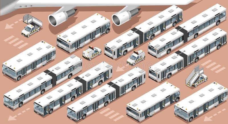 Insieme isometrico del veicolo della navetta 3D del bus dell'aerodromo del terminale di aeroporto illustrazione vettoriale