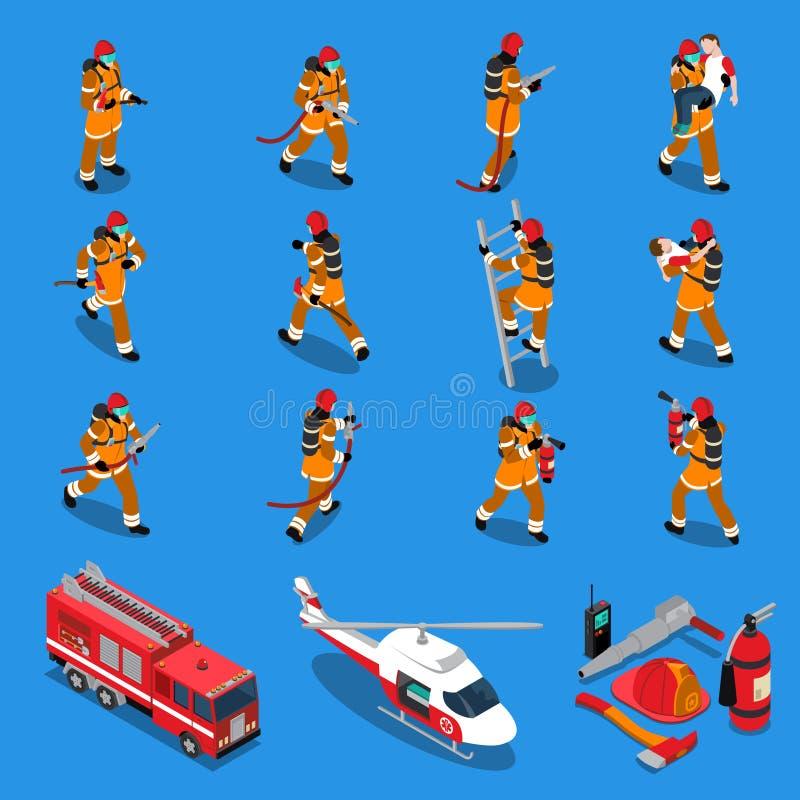 Insieme isometrico del vigile del fuoco illustrazione di stock
