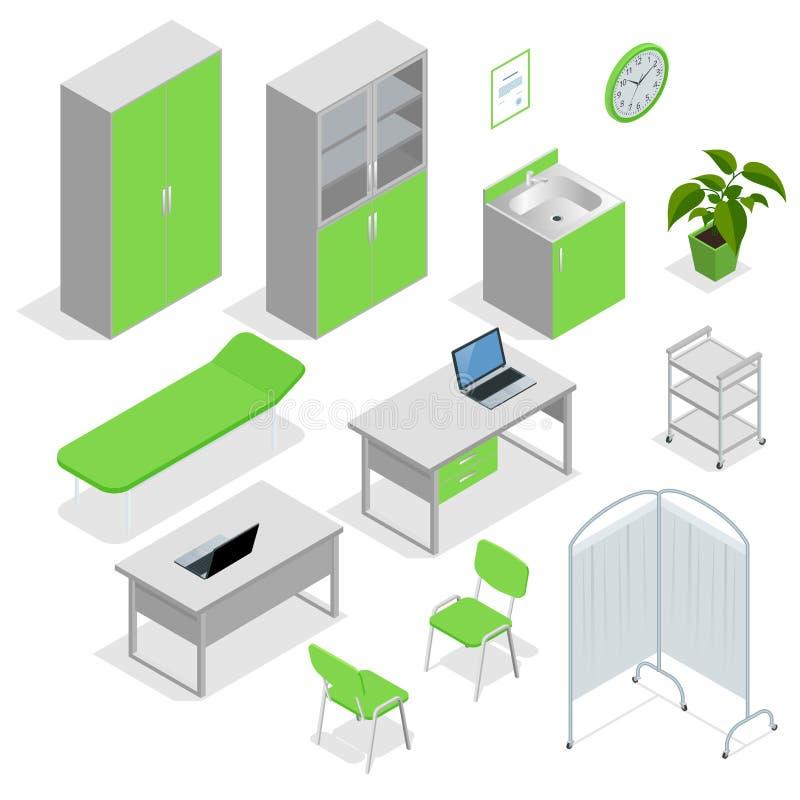 Insieme isometrico dell'attrezzatura e della mobilia dell'ospedale Le icone piane hanno isolato l'attrezzatura dell'illustrazione illustrazione vettoriale