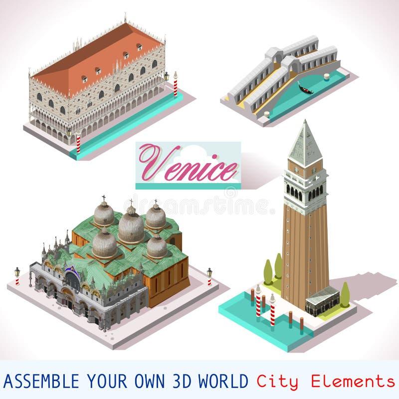 Insieme isometrico dell'icona del gioco di vettore delle costruzioni di Venezia illustrazione di stock