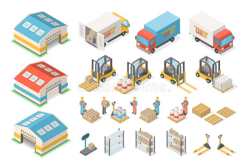 Insieme isometrico dell'icona del magazzino, schema, concetto logistico illustrazione vettoriale