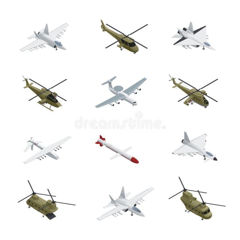 Insieme isometrico dell'icona dell'aeronautica militare illustrazione vettoriale