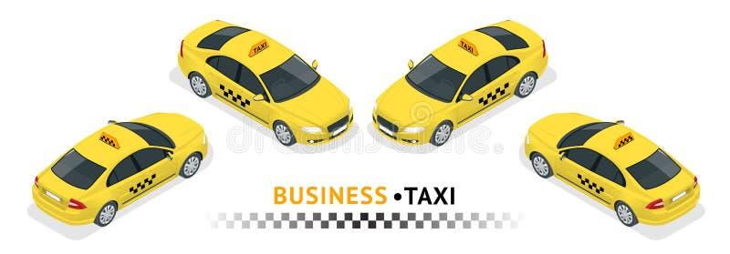 Insieme isometrico dell'icona di trasporto di servizio della città di alta qualità Taxi dell'automobile illustrazione vettoriale