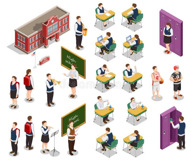 Insieme isometrico della gente della scuola royalty illustrazione gratis