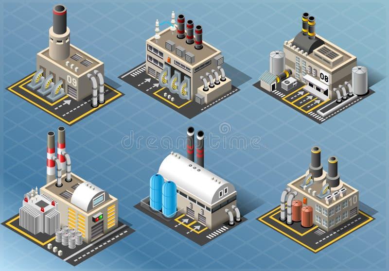 Insieme isometrico delle costruzioni delle industrie energetiche royalty illustrazione gratis