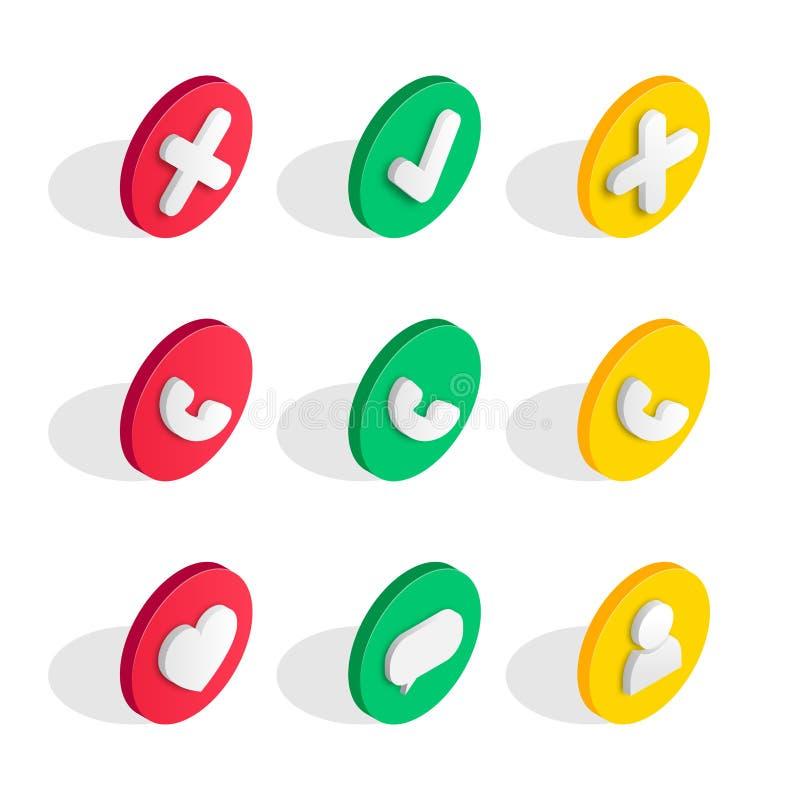 Insieme isometrico delle icone dell'interfaccia del telefono royalty illustrazione gratis